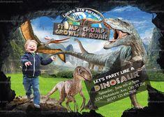 Personalize Dinosaur Invitation, Running Scared T Rex Invite, Jurassic World Party