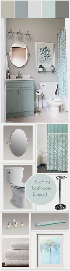 Relaxing Bathroom Makeover - Canada's Got Colour Winner : stylyze Relaxing Bathroom, Bathroom Small, Master Bathroom, Basement Bathroom, Bathroom Vanities, Bathroom Layout, Tile Layout, Bathroom Grey, Bathroom Cabinets