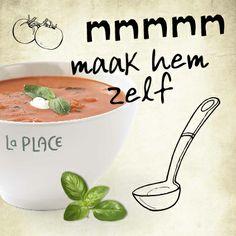 Maak thuis onze heerlijke Tomaat Basilicumsoep. Bekijk het recept:http://www.laplace.com/content/la-place/recepten-van-La-Place/recept-tomaat-bacilicumsoep.html Eet smakelijk! #recept #soep #tomaat # basilicum # bacilicum