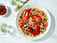Lobster Linguine with Chiles: This classic spicy seafood pasta is enriched with the lobster's coral, or roe sac, adding a pop of briny flavor.