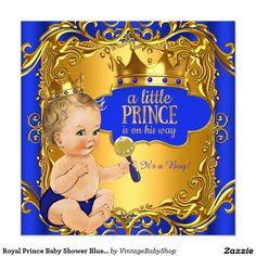 Royal Prince Baby Shower Blue Gold Rattle Blonde Invitation