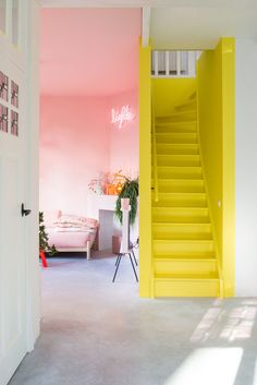 30 Incredibly Charming Pink Living Room Design Ideas - Home Bigger Colourful Living Room, Living Room Colors, New Living Room, My New Room, Living Room Designs, Living Room Decor, Bright Living Rooms, Yellow Walls Living Room, Stairs In Living Room