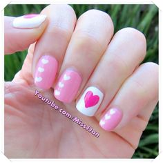 ♥ Sweetheart Nails | Valentine's Day Nails ♥ http://youtu.be/jItf5jKOUp8