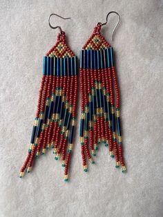 Seed Bead Beaded Earrings in Rust, Blue and Topaz.. $20.50, via Etsy.