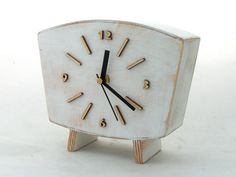 FREE SHIPPING - Table Clock, Desk Clock White, Wood clock, Mantel clock, Vintage Style 60s, Unique gift, Wooden White clock, Mantle clock