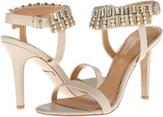 $82, Beige Leather Heeled Sandals: Badgley Mischka Kallan. Sold by 6pm.com. Click for more info: https://lookastic.com/women/shop_items/144192/redirect