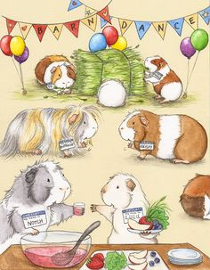Guinea Pig Barn Dance Fine Art Print by WhenGuineaPigsFly Hamsters, Rodents, Pet Guinea Pigs, Guinea Pig Care, Barn Dance, Dance Art, Pig Illustration, Illustrations, Watercolor Illustration