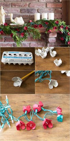 13 Surprisingly Pretty Decorations with Egg Carton - Bunk Bed Decorating Ideas Egg Carton Art, Egg Carton Crafts, Diy Flowers, Paper Flowers, Diy Crafts For Kids, Kids Crafts, Christmas Crafts, Christmas Decorations, Craft Decorations
