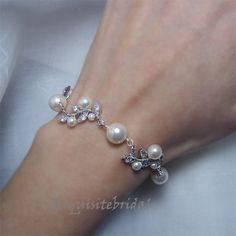 Bridal Bracelet, Pearl Rhinestone Vintage Wedding Bracelet, Ivory Pearls Crystal Leaf Bracelet Jewelry for Brides and Bridesmaids -. $52.00, via Etsy.