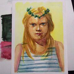 Estudo . . . . #art #artwork #artist #instaart #draw #drawing #desenho #paint #painting #ink #watercolor #aquarela #girl #blonde #blueeyes #sketch #study