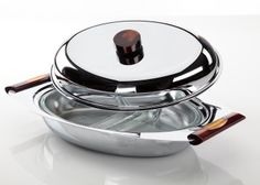 Stainless steel server with glass insert and Bakelite