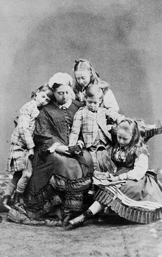 Queen Victoria with grandchildren, from left: Prince Albert Victor of Wales, Princess Victoria of Hesse and by Rhine, Princes George of Wales and Princess Elisabeth of Hesse and by Rhine