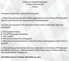 History of Photography Assignment