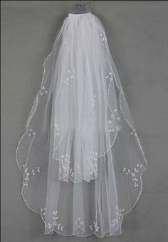 2T White ivory Beaded Edge pearl sequins floral Figure Wedding Bridal Veil NEW1240 on Etsy, $36.00