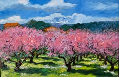 """Maria Bertran, """"Peach Tree Orchard"""" Contemporary Impressionist Oil Painting of Provence, 2018 Peach Blossom Tree, Peach Blossoms, Blossom Trees, Pink Trees, Peach Trees, Paintings Of Trees, Landscape Paintings, Impressionist Paintings, Fence Design"""