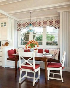 Country Kitchen. Great idea. Could bump out a window seat and save floor space in my small kitchen/dinning room.