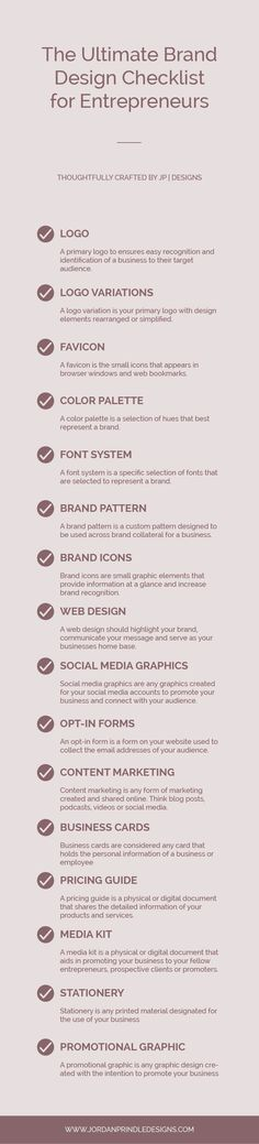 The Ultimate Brand Design Checklist for Digital Entrepreneurs — Jordan Prindle Designs Branding Your Business, Creative Business, Business Logos, Corporate Branding, Corporate Design, Business Marketing, Branding Design, Logo Design, Graphic Design