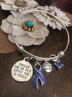 Periwinkle Ribbon Bracelet / Little Fierce / Stomach Gastric Esophageal Cancer Survivor / IBS /Anorexia Bulimia / Eating disorders Awareness by RockYourCauseJewelry on Etsy