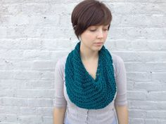 Bright teal braided cowl by KnitPrayLove on Etsy, $45.00
