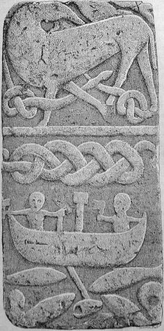 "A part of the Gosforth Cross showing, among other things, Thor's fishing trip. Signed ""Magnus P"" in the lower right corner."