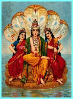 """Laxmi Devi and Earth Goddess Bhumi, Wives of Vishnu"""" by Raja Ravi Varma is his very famous painting. Painting shows Lord Vishnu with his two wives, Goddess Lakshmi,Goddess Bhumi Hindus, Indian Gods, Indian Art, Ganesha, Jaisalmer, Udaipur, Raja Ravi Varma, Indian Literature, Tanjore Painting"