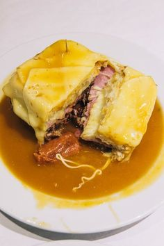 The Francesinha sandwich - think Portugal's version of a croque monsieur. Perfect hangover food.