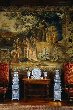 The Diogenes Room at Dyrham, showing one of the English 'Diogenes' tapestries and part of the collection of Delftware