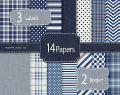Denim Digital Paper, Blue jeans scrapbook paper, rustic digital backgrounds, masculine digital paper - INSTANT DOWNLOAD Pack 573