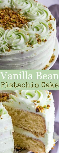 Light, airy and full of flavor this Vanilla Bean Pistachio Cake is a fun and tasty flavor combination perfect for absolutely any occasion. #cake #Baking #dessert