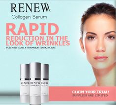 Eliminate Your Wrinkles And Fine Lines With Renew Collagen Serum! #skincare #skincaretips #antiaging #antiwrinkleserum #Review2016