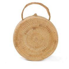 MINI BAG CIRCLE STRAW HANDMADE HANDBAG SUMMER (€29) ❤ liked on Polyvore featuring bags, handbags, mini bag, mini hand bags, hand bags, summer straw purses and miniature purse