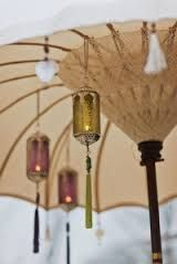 jewel hanging lanterns and garden umbrella from the Indian Garden Company