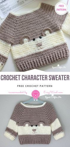 Crochet Character Sweater Free Pattern on easywool.com #crochetfreepatternforbaby #crochetfreepatternforblanket #crochetbabyblanket #freecrochetpattern #crochetstitch #crochet #freecrochetPatterns #freecrochetPatterns #amigurumiowl #freepattern #popsicle #cozy #cocoon #babyhat