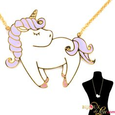 Large Pastel Unicorn With Lavender Mane Necklace: The gold-plated brass pendant is in the form of a unicorn and hand-painted in colorful enamel. The pendant is 2 inches in width and hangs on a gold-plated brass necklace chain. Brass Necklace, Necklace Chain, Brass Pendant, Pegasus, Mythical Creatures, Unicorns, My Little Pony, Lavender, Plating