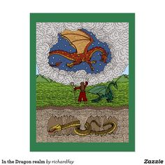 In the Dragon Realm Postcard.  40% Off with code ZCUSTOMSENDS.  Offer is valid through August 9, 2017, 11:59 PM PT.  #Zazzle #postcard #dragons #red_dragon #green_dragon #gold_dragon #wyvern #gold_worm #sorcerer