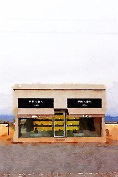 Free Printable Watercolor Prada Marfa Print #PradaMarfa #Marfa #Texas www.gustoandgraceblog.com