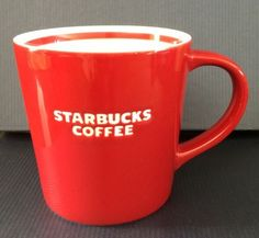 Starbucks Red Coffee Mug Cup - Bone China 2010 #Starbucks