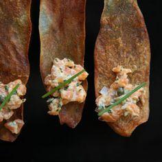 Salmon tartare on potato crisp....awesome app for a brunch!