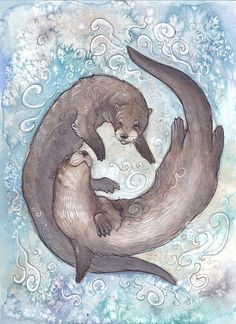 Water Element Series - °Two Friends of the River by Kitsune-Seven.deviantart.com