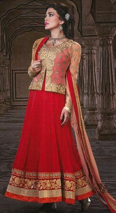 $118.82 Red Faux Georgette Embroidered with Zardosi Work Floor Length Anarkali Suit 26040
