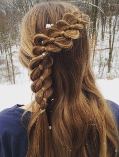 Four-Strand Braid With A Ribbon For Girls #beautyhairstyles