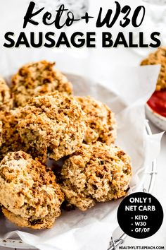 Keto Sausage Balls made with almond flour, ground pork sausage, dairy free cream cheese, an egg, scallops and seasoning. The perfect appetizer or everyday snack. Only 1 NET carb per serving. Whole30, Keto, Paleo and Gluten Free. #sausageballs #ketorecipes #ketoappetizers #paleo #whole30 #whole30appetizers #superbowlrecipes #glutenfree Best Paleo Recipes, High Protein Recipes, Whole 30 Recipes, Dairy Free Recipes, Gluten Free, Keto Sausage Recipe, Sausage Recipes, Paleo Meal Plan, Paleo Food