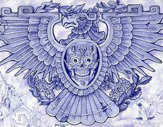 Blue Eagle by Mouse Lopez Aztec Bird Symbol Giclee Art Print - Eagle Art - Ideas of Eagle Art - Blue Eagle by Mouse Lopez Aztec Bird Symbol Giclee Art Print Price : Mayan Tattoos, Tribal Tattoos, Aztec Eagle Tattoo, Filipino Tattoos, Indian Tattoos, Stretched Canvas Prints, Canvas Art Prints, Fine Art Prints, Inka Tattoo