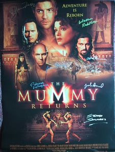 MUMMY RETURNS original 27x40 movie poster cast signed by Brendan Fraser, Rachel Weisz, John Hannah, Patricia Valesquez, Arnold Vosloo, Oded Fehr, The Rock & director Stephen Sommers.