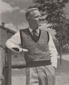 Richard Vest • 1950s Knitting Knit Sweater Vest Sweatervest Marled • 50s Vintage Pattern • Retro Men's Knit Digital PDF by TheStarShop on Etsy
