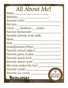 Girl Scouts: About Me FREE Printable