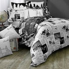 Take a world tour of the world's most beautiful cities with the Passport London and Paris Reversible Duvet Cover Set. Adorned with soft scripted and elegant typeface in black and grey, the unique bedding is the perfect addition to a traveler's bedroom.