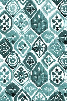 Green Shibori Mosaic by shopcabin - Turquoise hand painted pattern on fabric, wallpaper, and gift wrap. Emerald diamond pattern in a beautiful handpainted style.