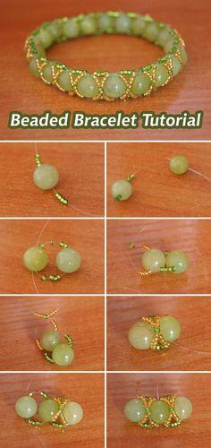 Beaded Bracelet Tutorial / Плетем браслет из бисера и бусин