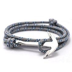 2017 - 14 Colors Fashion Jewelry Silver Alloy Anchor Bracelet Men Leather  Risers Bracelet for Women&Men friendship bracelets